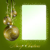 Green merry christmas postcard Royalty Free Stock Photos
