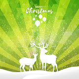 Green Merry Christmas Snow Winter landscape with deer couple Stock Images