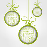 Green merry christmas text balls Royalty Free Stock Photos