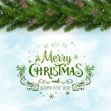 Green Merry Christmas Typographical on snowy frozen background with garland of tree branches. Decorated with pine cones, snowflakes. Xmas theme. Vector stock illustration