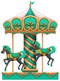 A green merry-go-round. Illustration of a green merry-go-round on a white background Stock Image