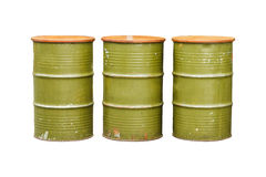 Green metal barrel isolated on white background with clipping pa Stock Image