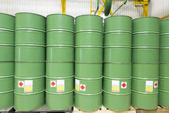 Green metal barrels Stock Photography