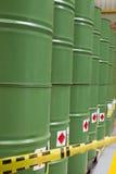 Green metal barrels Royalty Free Stock Photography