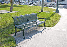 Green metal bench Royalty Free Stock Photography