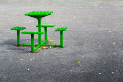 Green Metal Bench Table Set Royalty Free Stock Image