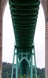 Green metal bridge framework and supports Royalty Free Stock Photo