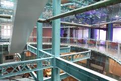 Green, metal ceilings in the building. floors Stock Photo