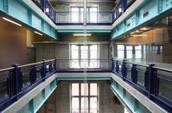 Green, metal ceilings in the building. floors. Stock Image