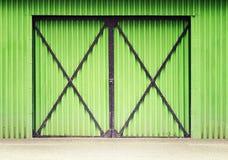 Green metal door Stock Photo