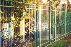 Green metal fence. Country housing. stock photos