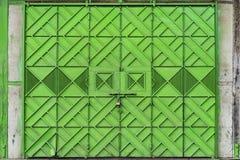 Green Metal Folding Gate Stock Photo