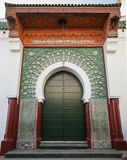 Green metal gate with decoration. Ancient mosque in Medina. Tang Royalty Free Stock Images