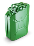 Green metal jerry can Stock Photos