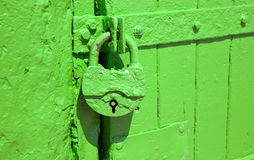 Green metal lock is hanging Stock Photography