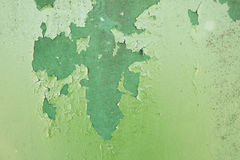 Green metal plate with cracked paint and big paint spots because Royalty Free Stock Photo