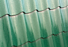 Green metal roof texture. Royalty Free Stock Photography