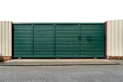 Green metal slide gate Royalty Free Stock Images