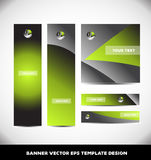 Green metal sphere banner template design set Stock Photos