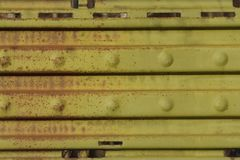 Green metal texture from old rusty striped iron wall royalty free stock images