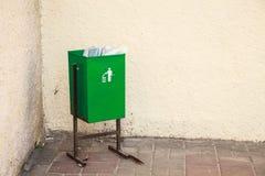 Green metal trashcan Stock Photos