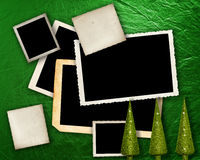 Green metallic background with frames. Royalty Free Stock Photography