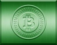 Green Metallic Bitcoin Plate. Green metallic plate with bitcoin logo stamp Royalty Free Stock Photos