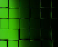 Green metallic cubes background. Abstract background with metallic green cubes, 3d rendering Stock Photography