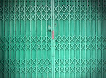 Green metallic door Royalty Free Stock Photo