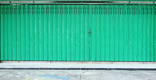 Green metallic door Royalty Free Stock Images