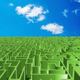 Green maze and sky. Green metallic maze illustration with sky Royalty Free Stock Image