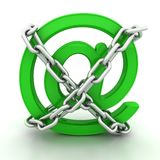 Green metallic AT symbol chains Stock Images