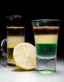 Green mexican and melon liquer shot Royalty Free Stock Photography