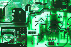 Green microelectronics computer chip Royalty Free Stock Image