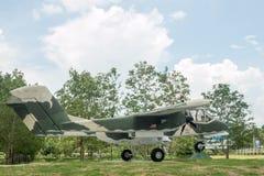 Green military airplane Stock Photo