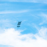 Green military fighter aircrafts in cloudy sky Stock Photos