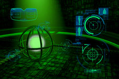 Green military style background with glowing sphere and spaceship wall Stock Photo