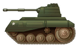 A green military tank. Illustration of a green military tank on a white background Stock Photos