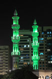 Green minarets of a mosque Royalty Free Stock Photo