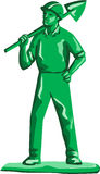 Green Miner Holding Shovel Retro Stock Photography