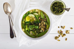 Green minestrone with vegetables Royalty Free Stock Photos