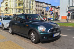 Green Mini Cooper parked Royalty Free Stock Photography