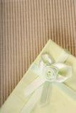 Green mini gift box with ribbon Stock Photo