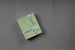 Green mini gift box with ribbon Stock Image