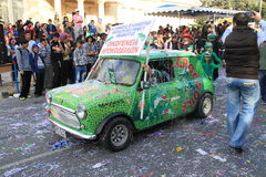 Green Mini. Pafos, Cyprus - March 16, 2013: Austin car at the Carnival royalty free stock images