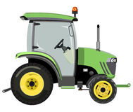 Green mini tractor. A side view on white background stock illustration