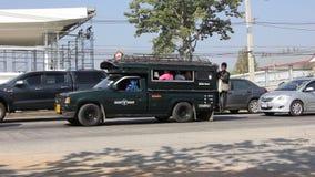 Green mini truck taxi chiangmai stock video