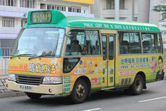Green minibus in hong kong Stock Photography