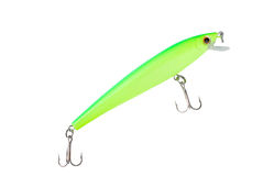 Green minnow lure. Green minnow fishing lure with clipping path Stock Image