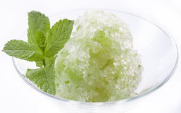 Green mint cold dessert sorbet ice-cream with mint leaf Stock Photo